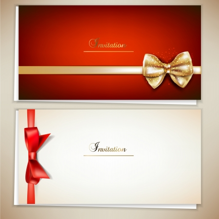 Collection of gift cards and invitations with ribbons.