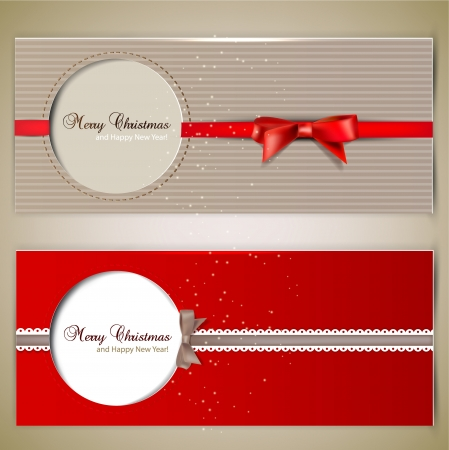 Greeting cards with  bows and copy space.