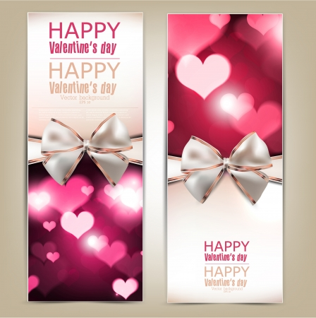 Beautiful greeting cards with white bows and copy space  Valentine