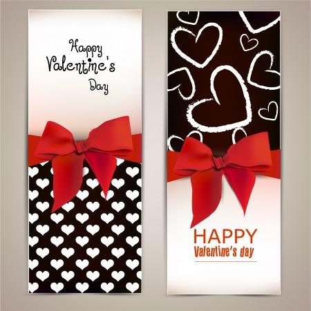 Ilustración de Beautiful greeting cards with red bows and copy space  Valentine - Imagen libre de derechos