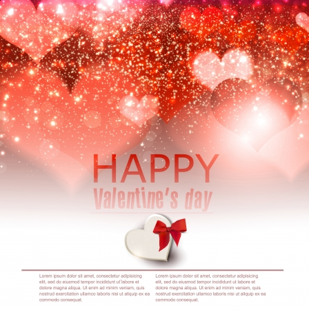 Elegant  red background with hearts and place for text  Valentine