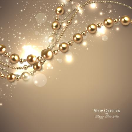 Ilustración de Elegant christmas background with golden garland. Vector illustration - Imagen libre de derechos