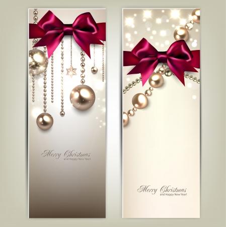 Ilustración de Elegant Christmas banners with golden baubles and red bows. Vector illustration - Imagen libre de derechos