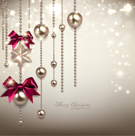 Elegant Christmas background with red ribbons and golden garland. Vector illustration