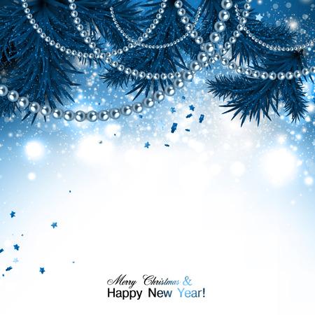 Illustration pour Elegant christmas background with blue garland and stars. Vector illustration - image libre de droit