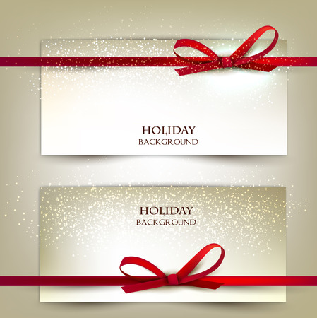 Illustration pour Set of two elegant gift cards with red ribbons.Vector illustration. - image libre de droit