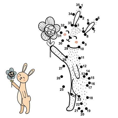 Illustration pour Connect the dots, draw and color a cute baby rabbit with a flower - image libre de droit