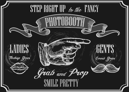Illustration for Photobooth pointer sign. Vector photo booth props. Photo Automat Pointer. Photobooth sign with engraving hand with moustaches and lips. Chalkboard background. - Royalty Free Image