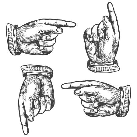Illustration pour Pointing up down left right finger Vector illustration. Engraving style. - image libre de droit