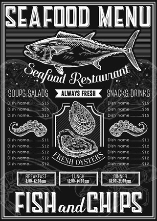 Illustration pour Seafood background restaurant menu with traditional dish. meal. Sea food hand drawn engraved vector illustration, oyster, octopus, tuna, salmon, fish. Retro vintage label ocean seafood. Chalkboard - image libre de droit