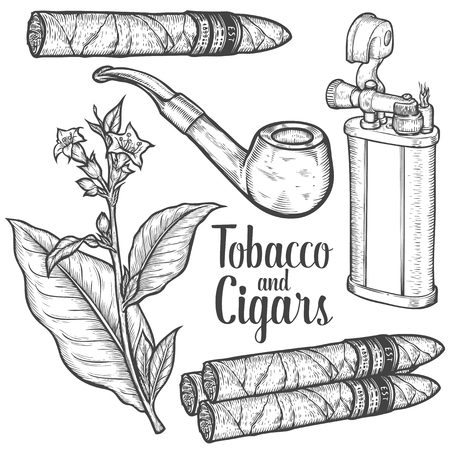 Set of vintage smoking tobacco elements. Monochrome style. Lighter, cigarette, cigar, pipe, tobacco leaf. Vector hand drawn vintage engraved black illustration isolated on white background.