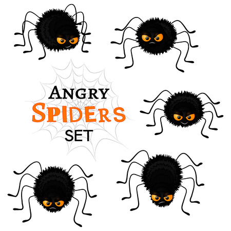 Cartoon scary black spiders set isolated on white background. Funny insects characters with angry faces and orange eyes. Flat Halloween elements collection for your design. Vector illustration