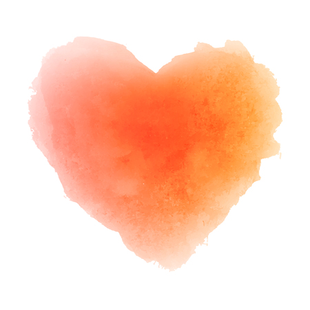Ilustración de Watercolor orange hand drawn paper texture isolated heart shaped stain on white background for valentines day or autumn design. Abstract vector illustration. Grunge styled wet brush romantic painting. - Imagen libre de derechos