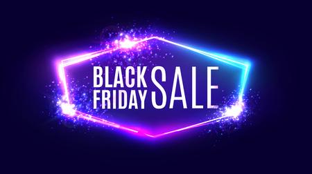 Ilustración de Black friday sale banner on neon background. - Imagen libre de derechos