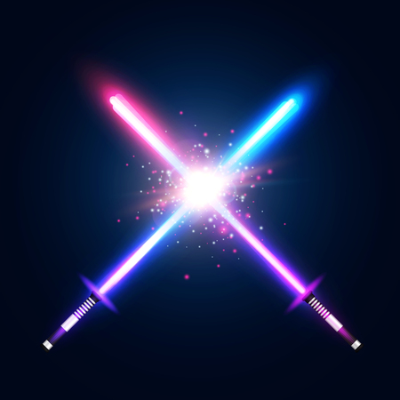 Illustration pour Two crossed light neon swords fight. Blue and violet crossing laser sabers war. Club icon or emblem. Glowing rays in space. Battle elements with star, flash and particles. - image libre de droit
