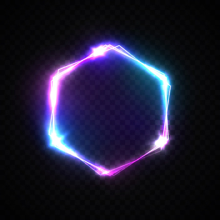 Illustration pour Hexagon background with neon lights on transparent backdrop. Shining hex logo design with light flash and sparkles. Color vector illustration in neon style. - image libre de droit