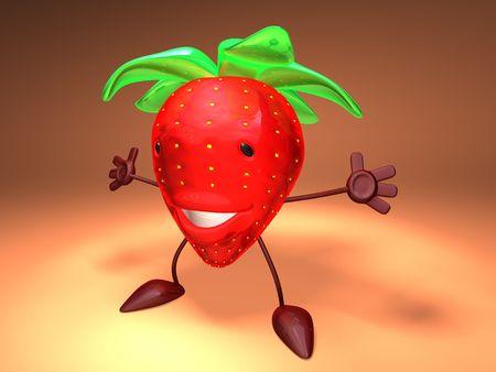 3D toon strawberry