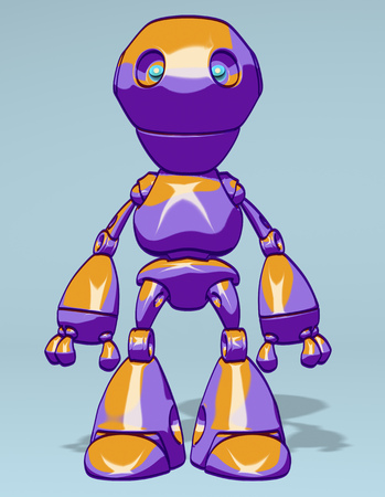 Cartoon robot standing