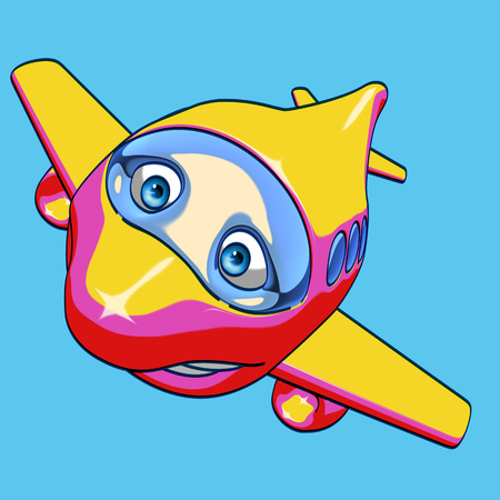 Cartoon smiling airplane