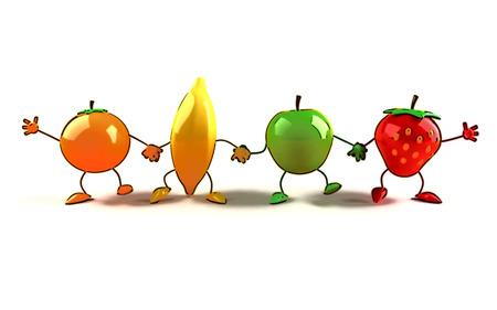 Cartoon fruits holding hands