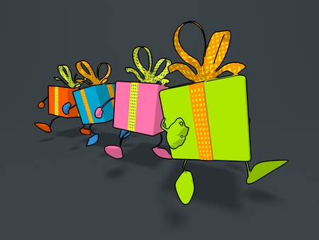 Cel shaded gift boxes walking