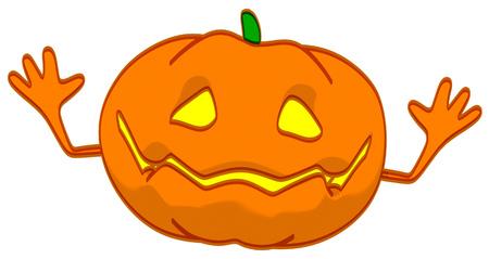 Cartoon pumpkin character posing