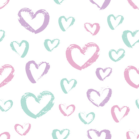 Seamless hand drawn hearts pattern. Colorful Ink design for t-shirt, dress, cloths. Sketchy Valentine's Day background. Vector illustration EPS 10 file.