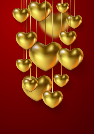 Beautiful Happy Valentine's Day banner with 3d metallic glossy Hearts Gold color isolated on red background. Festive poster with a place for text. Vector illustration
