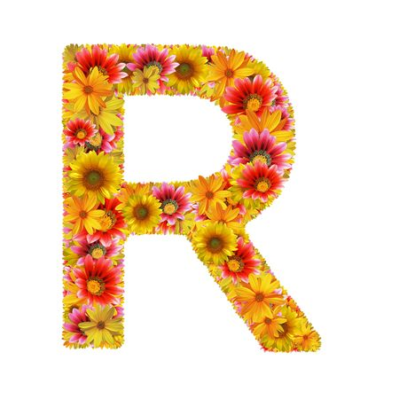 Letter R created of flowers isolated on white background