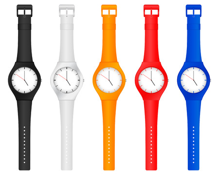 Set vector illustration color wristwatch on a white background.