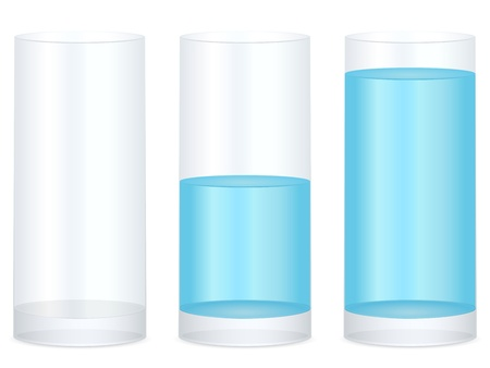 Empty, half and full water glass on a white background. Vector illustration.