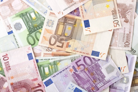 Background with different euro banknotes.