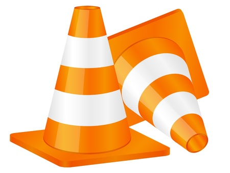 Traffic cones isolated on a white background. Vector illustration.