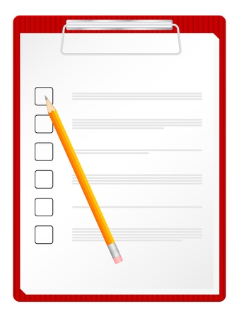 Checklist on clipboard with pencil. Vector illustration.