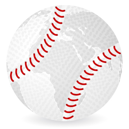 World map baseball ball on a white background.
