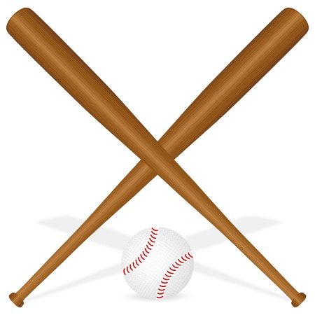 Baseball bats and ball on a white background. Vector illustration.