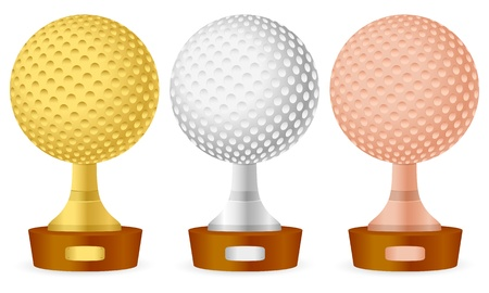 Golf trophy set on white background