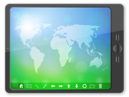 Tablet computer with world map on a white background  Vector illustration