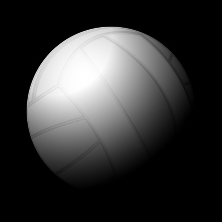 Volleyball ball on a black background. Vector illustration.