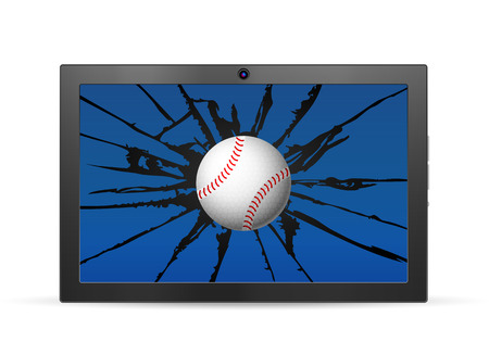 Cracked tablet baseball  on a white background. Vector illustration.