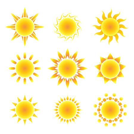Illustration for Sun symbol set on a white background. Vector illustration. - Royalty Free Image