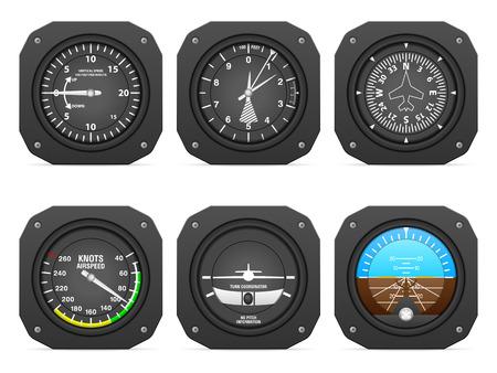 Ilustración de Flight instruments on a white background. - Imagen libre de derechos