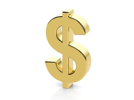 Photo pour Golden dollar symbol on a white background. - image libre de droit