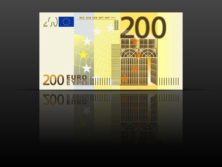 Two hundred euro banknote on a black background.