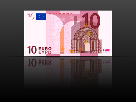 Ten euro banknote on a black background.
