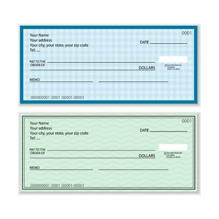 Illustration pour Bank check set on a white background. Vector illustration. - image libre de droit