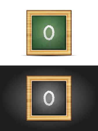 Number zero on chalkboard set. Vector illustration.