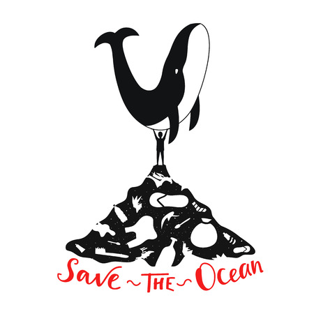 Illustration pour Ecological typography motivational poster - Save the Ocean lettering quote - image libre de droit