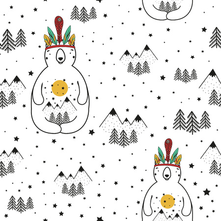 Illustration pour Vector stylish cartoon seamless pattern. Illustration with bear, pine trees and mountains. Doodle style print design, cute childish background - image libre de droit