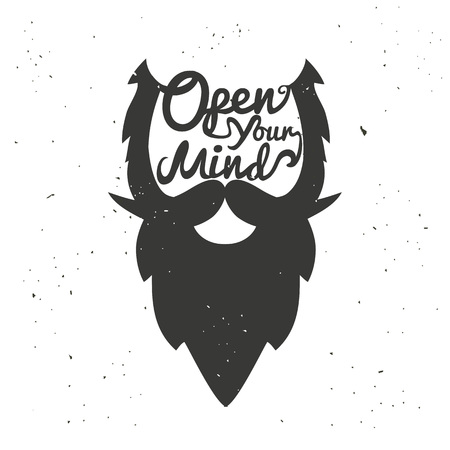 Illustration for Vector hand drawn typography poster with bearded man's head. Open your mind. Inspirational and motivational illustration - Royalty Free Image